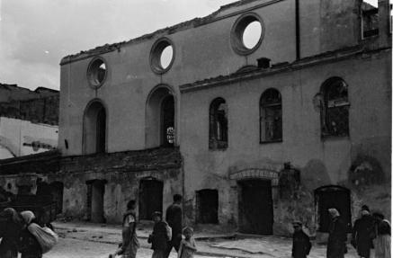 Велика передміська синагога після руйнувань в 1941 році.