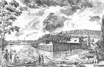 Військовий басейн на Пелчинському ставі. Літографія Й. Діллера