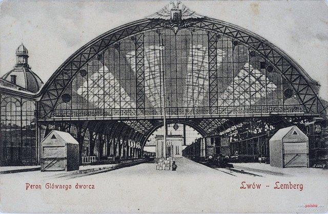 Дебаркадер над залізничними перонами (виготовлений у чеському металургійному комбінаті «Вітковіце»). Приблизно 1904 рік
