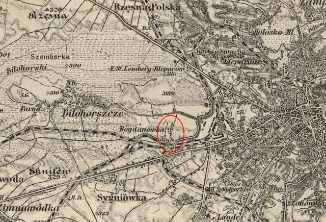 Забудова Левандівки на початок XX ст. Мапа 1904 року