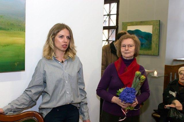Олеся Домарадзька та Людмила Богуславська на відкритті виставки «Подорож»