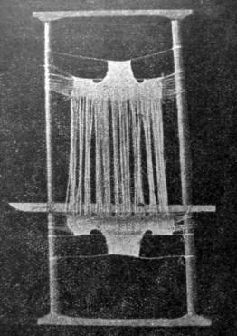 Верстат, на якому жінки ткали мереживо для очіпків на Поділлі. Із виставки народного мистецтва в гімназії сестер василіянок, 1930-ті рр. (Нова Хата. – 1933. –Ч. 1)