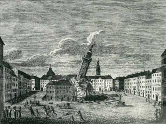 Падіння Львівської Ратуші зображене на гравюрі очевидця цієї події.
