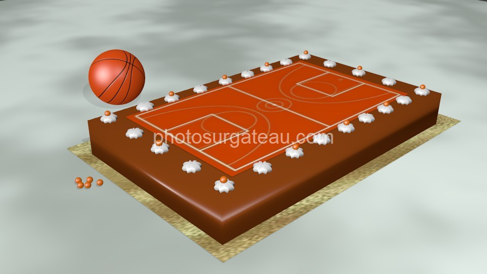 Feuille Decoration Gateau Terrain De Basket Ball