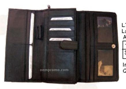 Black Lambskin Napa Ladies Organizer Checkbook Wallet