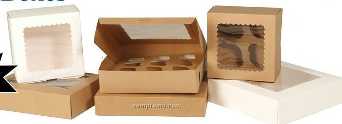 Kraft Window Cupcake Boxes W 4 Mini Cupcake Capacity