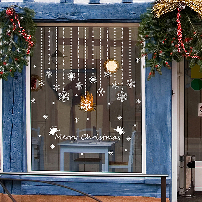 details large christmas snowhouse snow wall stickers window home large wall decals circus large wall decals stickers appliques home