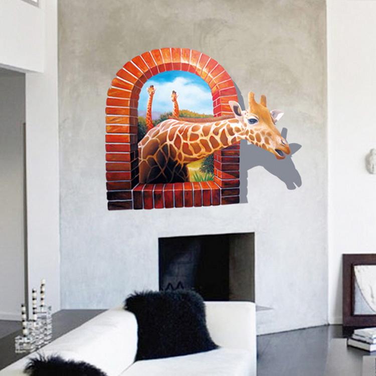 giraffe window wall decor living room decal wall stickers nursery art woodland animal owl deer fox bird tree nursery baby wall decal sticker