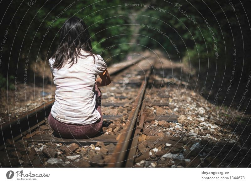 Tourism Blog Template Sad Young Girl Sitting Lonely On Rail Track A Royalty