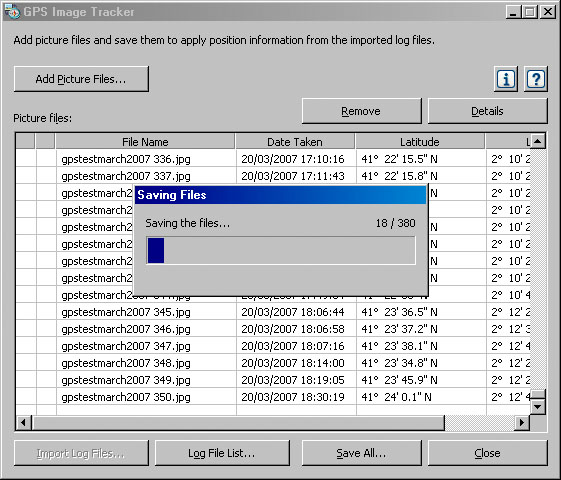 Saving GPS associated files