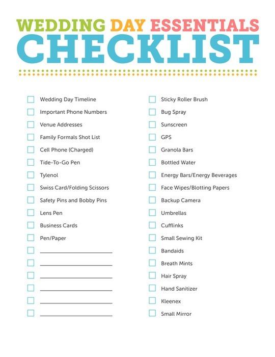Free Wedding Photography Essentials Checklist - wedding list