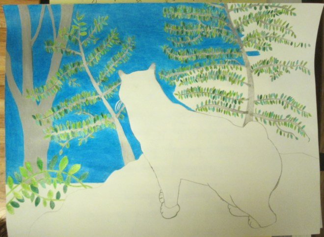 It takes a bit of time to work up the deep blue hue as I color in the cross sections of the tree.