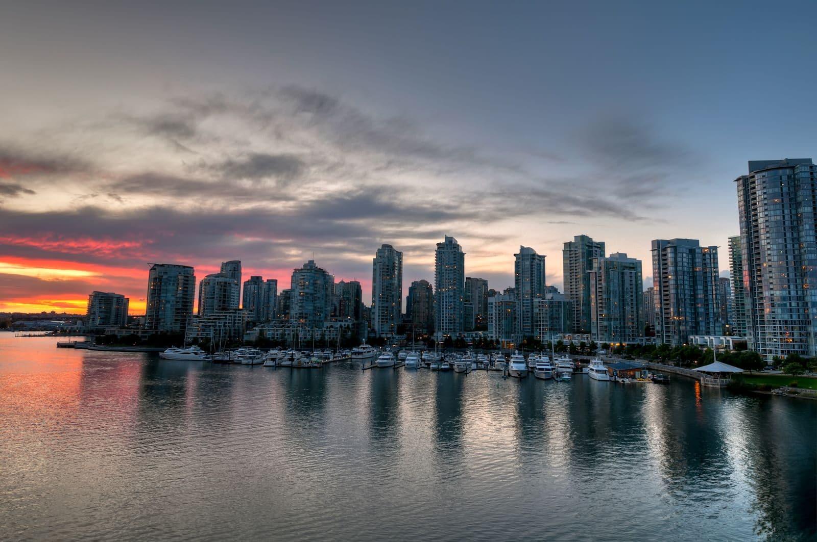 Boston Hd Wallpaper Vancouver Skyline At Sunset