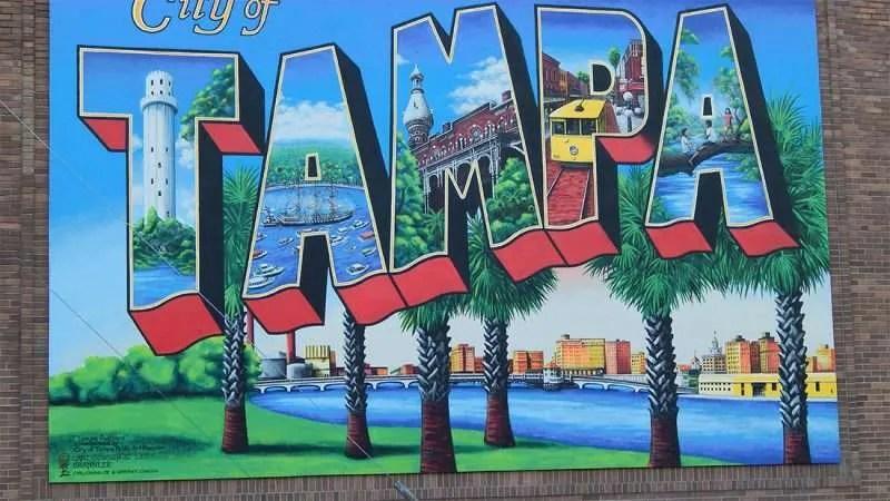 Car Mural Wallpaper City Of Tampa Postcard Mural By Carl Cowden Along Florida