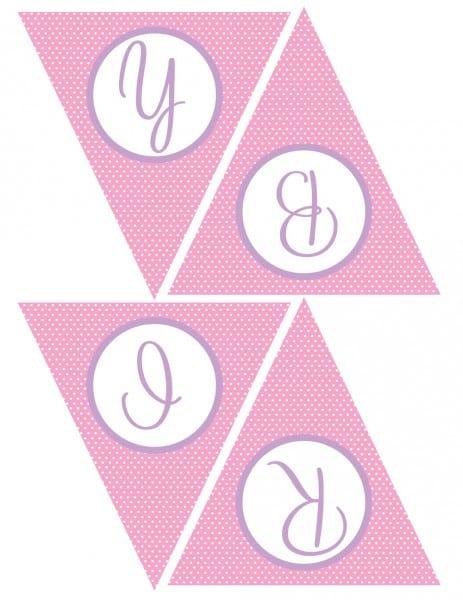 FREE Pink and Purple (Girl) Birthday Printables from Green Apple - free printable happy birthday banner templates