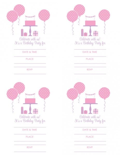 FREE Pink and Purple (Girl) Birthday Printables from Green Apple