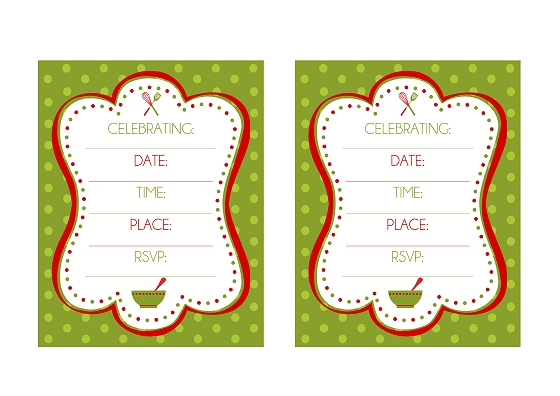 FREE Holiday Baking Party Printables from Printabelle Catch My Party - free holiday invitations