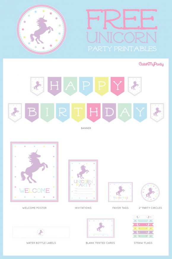 The Best Free Unicorn Birthday Party Printables Catch My Party