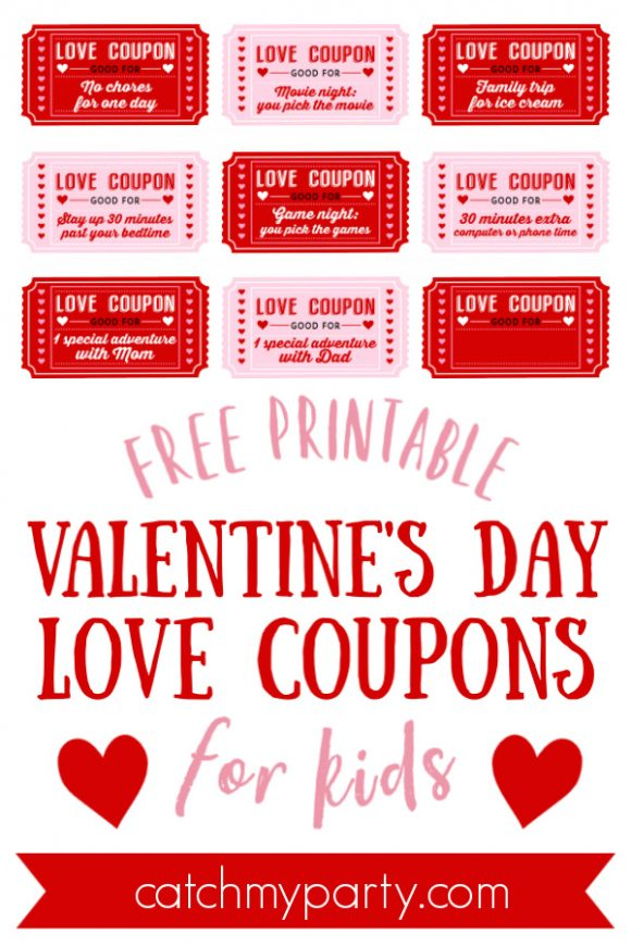 Free Printable Love Coupons for Kids On Valentine\u0027s Day! Catch My