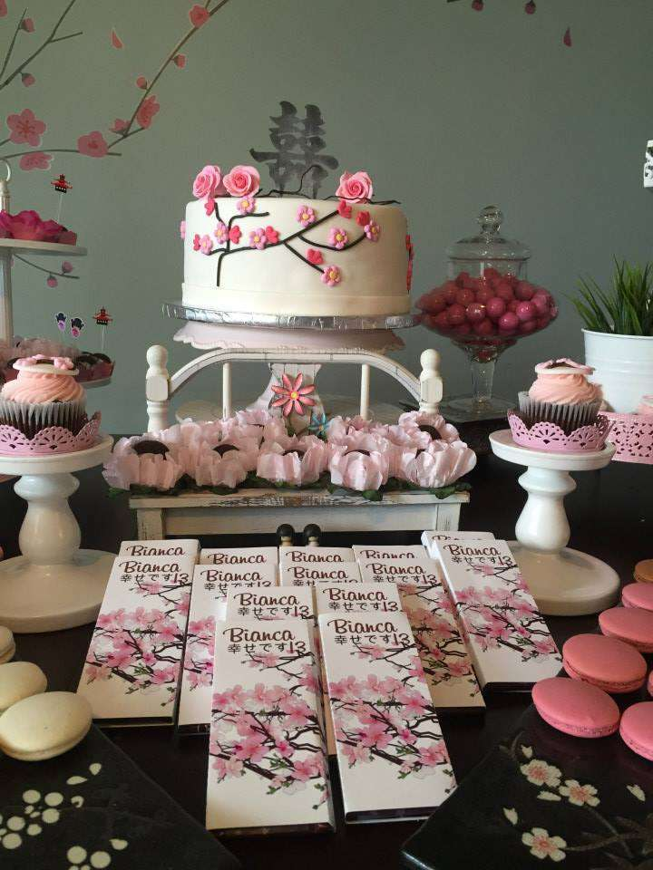 Japanese Cherry Blossom Birthday Party Ideas Photo 1 Of - Party Decoration Japanese