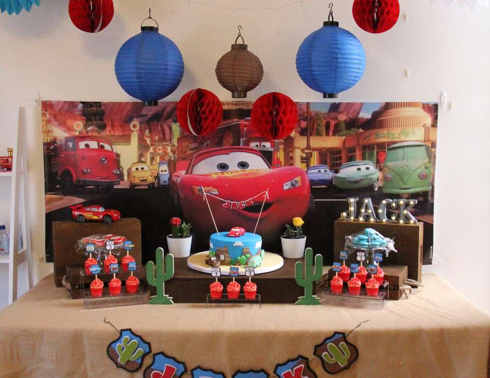 disney pixar cars lightning mcqueen in radiator springs birthday