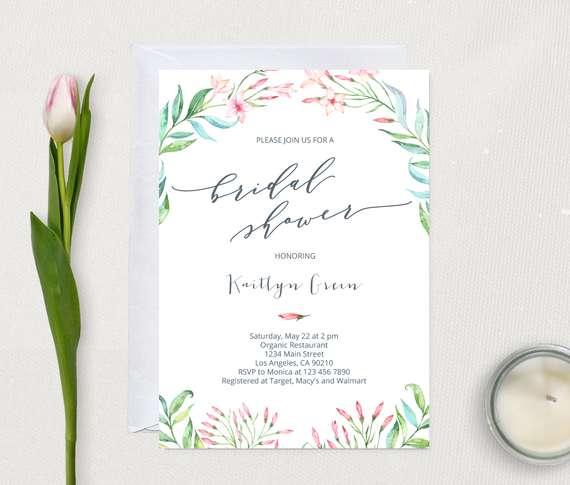 Jasmine Flowers Bridal Shower Printable Invitation, Instant download