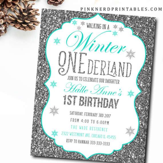 WINTER BIRTHDAY ONEDERLAND BIRTHDAY INVITATION by Pink Nerd
