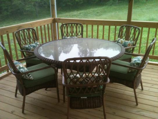 Hampton Bay Clairborne 7 Piece Patio Dining Set With Moss