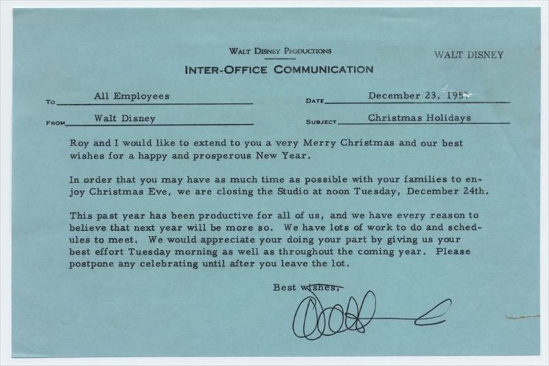 auctionhowardlowery Walt and Roy Disney CHRISTMAS HOLIDAYS