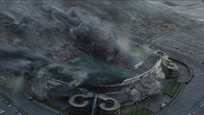 A swarm of artificial locusts devours a stadium.