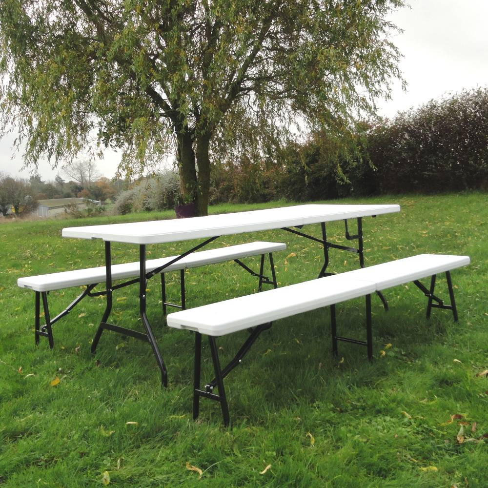 Table Pliante Et Banc Set Brasserie Table Pliante Et 2 Bancs Pliants 183cm