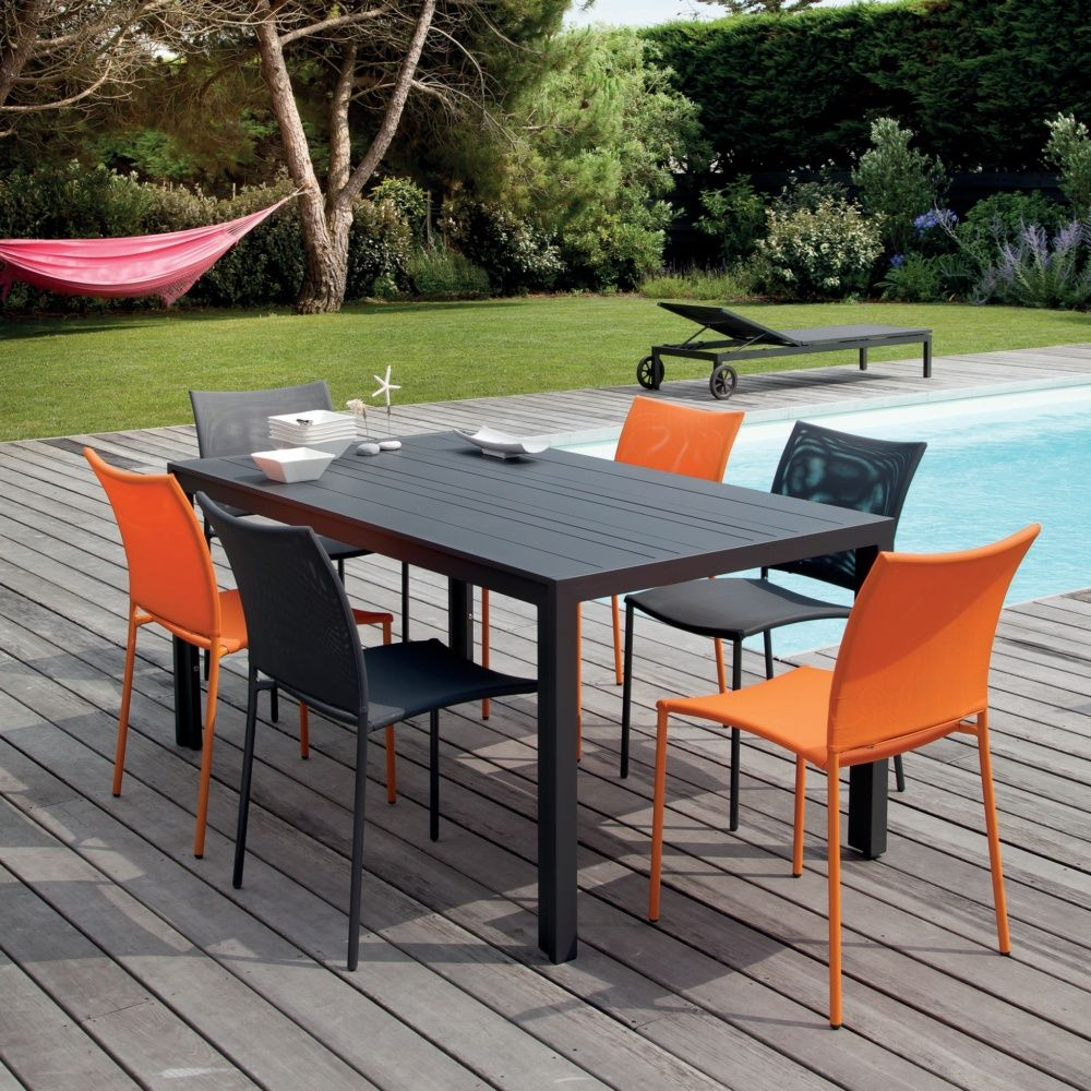 Siege Salon De Jardin Salon De Jardin Globe Table Aluminium 6 Chaises Gris Orange