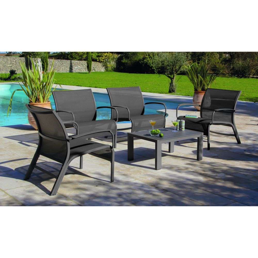 Tables Salon De Jardin Salon De Jardin Lounge Linea : Table Basse + 4 Fauteuils