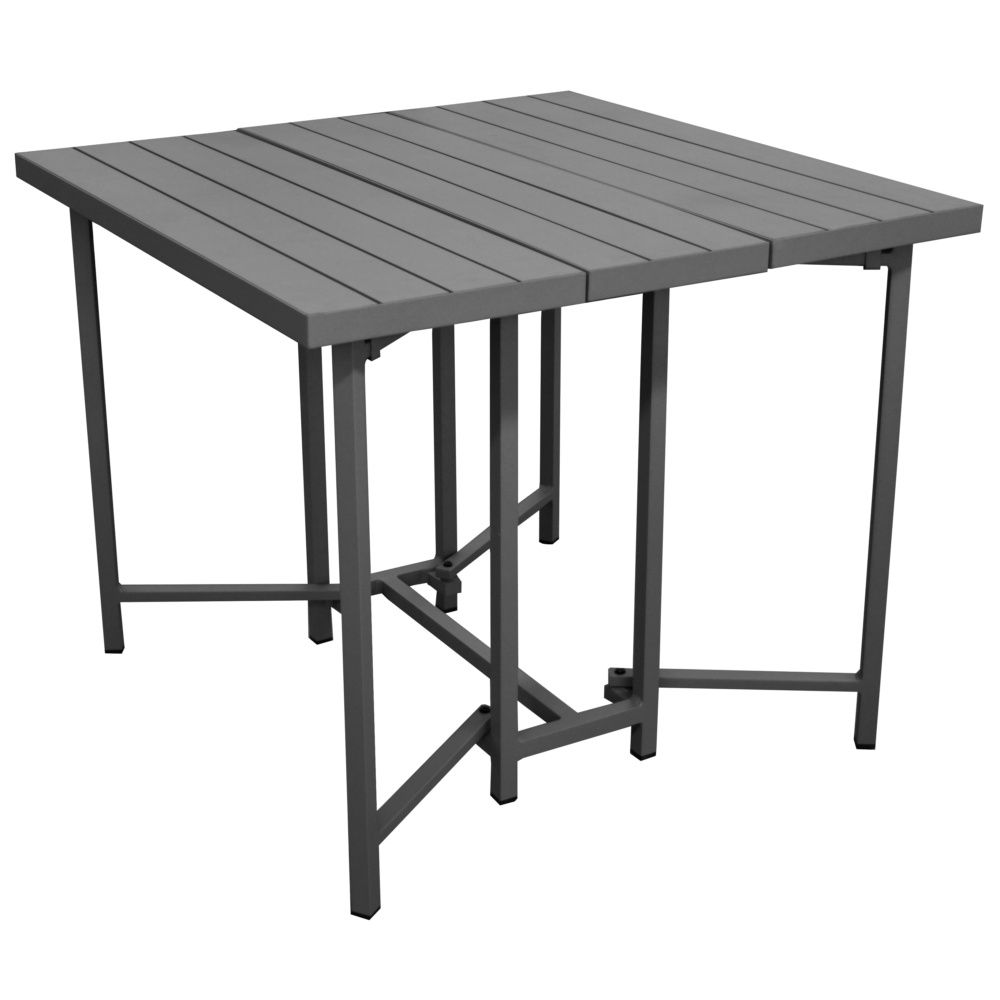 Table Aluminium Pliante Table Pliante Caly L90 P90 Cm Aluminium Gris