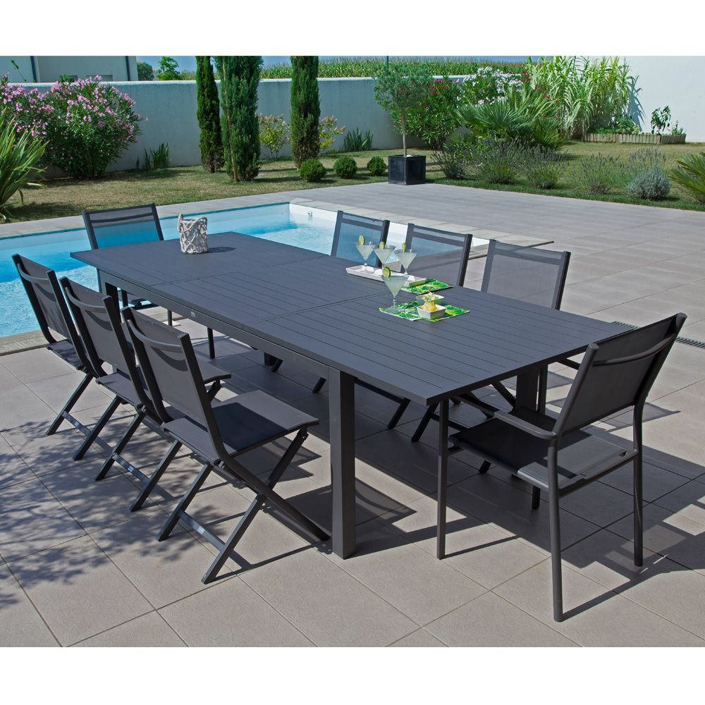 Table Aluminium Jardin Table De Jardin Trieste Aluminium L200 280 L103 Cm Gris