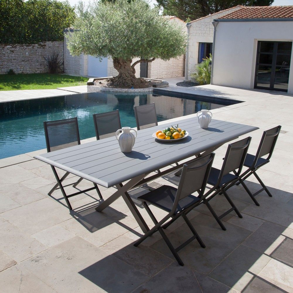 Table Allonge Papillon Table De Jardin Bridge L220 280 L100 Cm Aluminium Gris