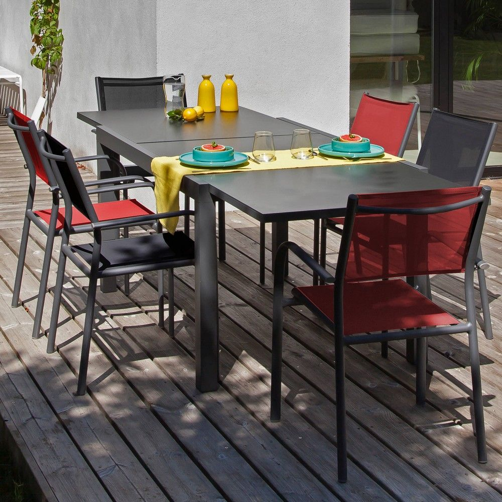 Table De Jardin Rouge Salon De Jardin Table Elise 6 Fauteuils Duca Gris Rouge
