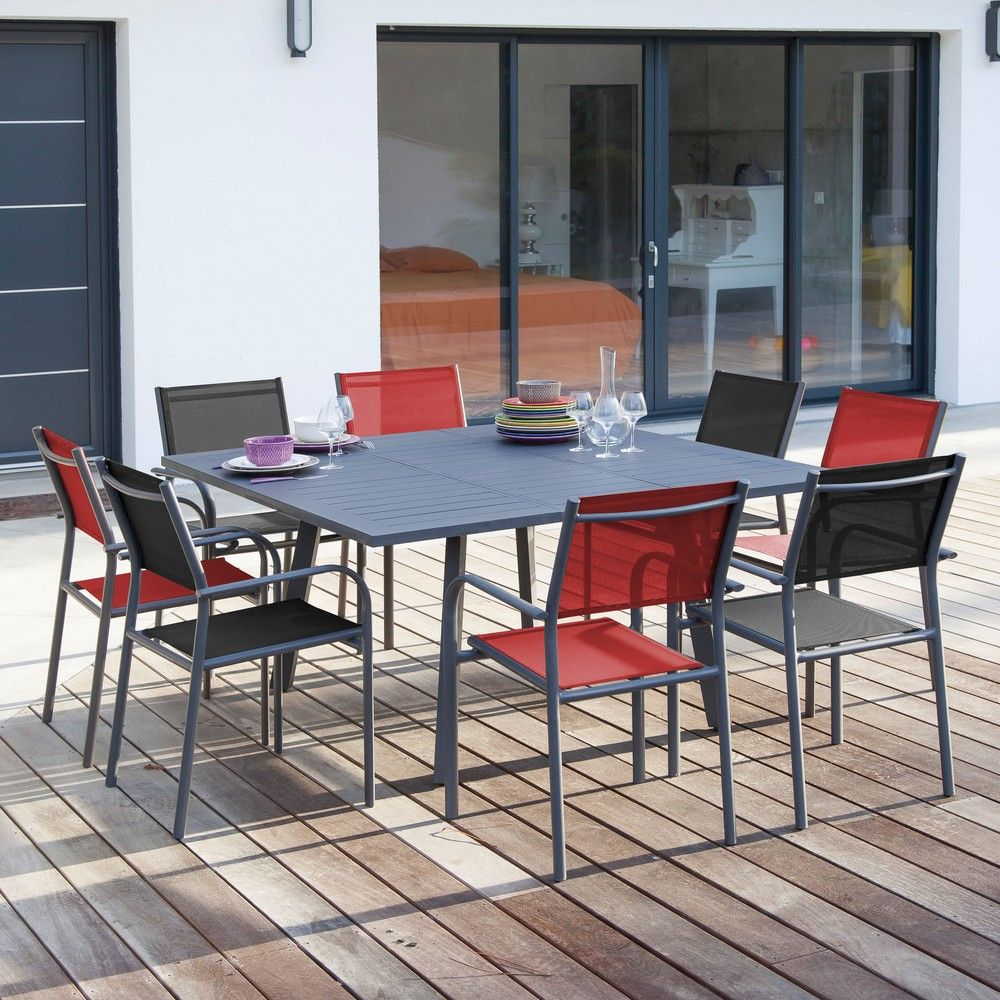 Table Jardin Salon De Jardin Table Carrée Barcelona 8 Fauteuils Duca Gris Rouge