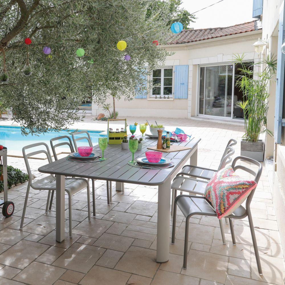 Salon De Jardin Palma 8 Chaises 4 Tabourets Et 1 Table Marron Antique