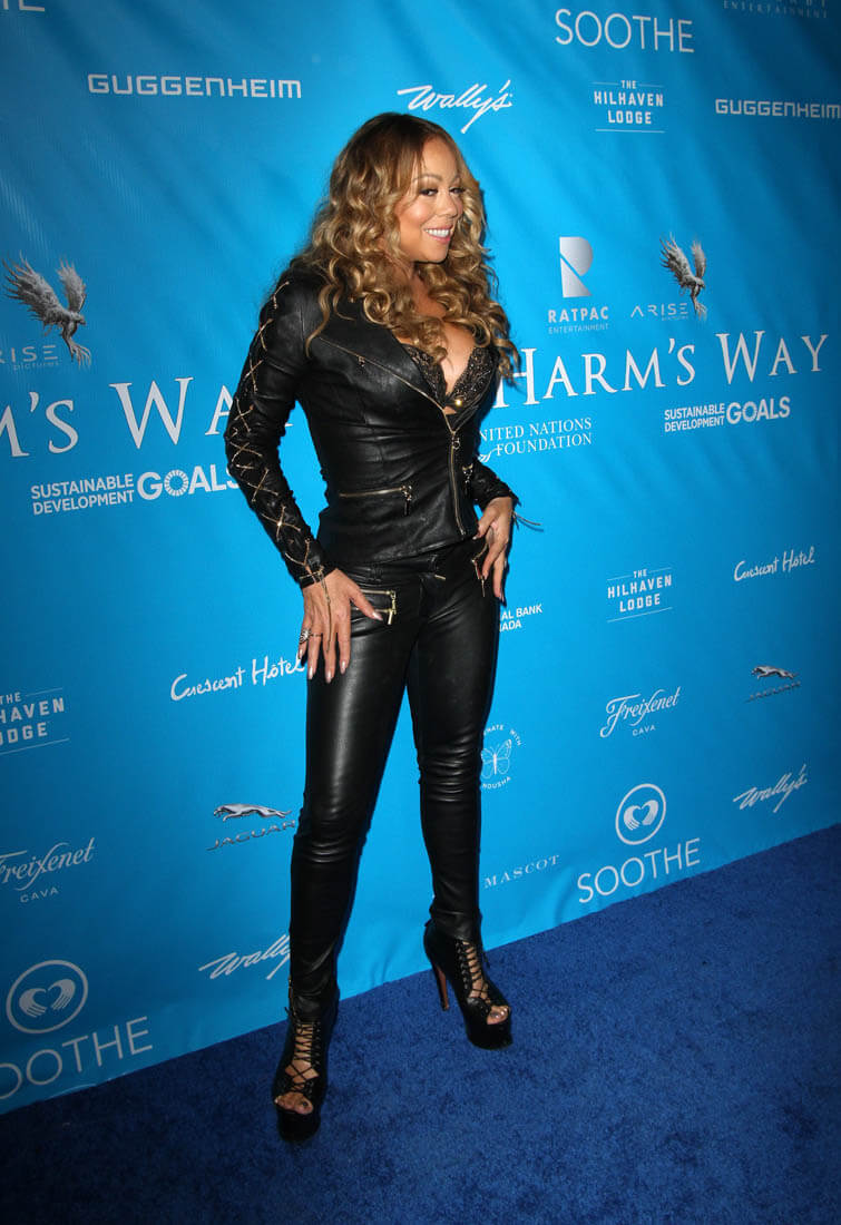 California Closets Skinny Mariah Carey In Leather At Event For Secretary