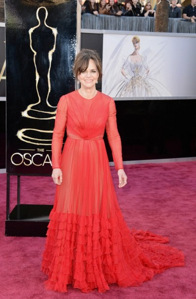 Sally Field in red Valentino Couture at the 2013 Oscars|Lainey Gossip Entertainment Update