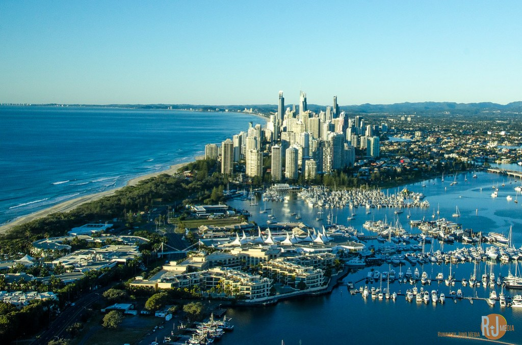 Surfer's Beach and Gold Coast from up in the air