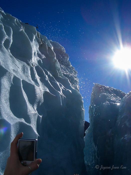 Making steps on the glacier