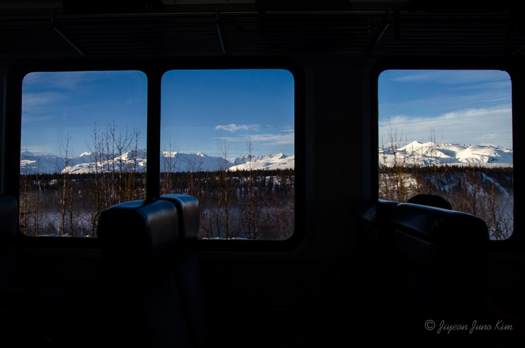 The Aurora Winter Train is the definition of the 'train with the view' - looking out the Alaska Range