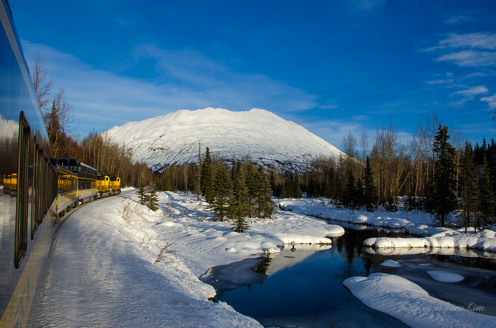 Snowy mountains, frozen creeks, and scenic train!