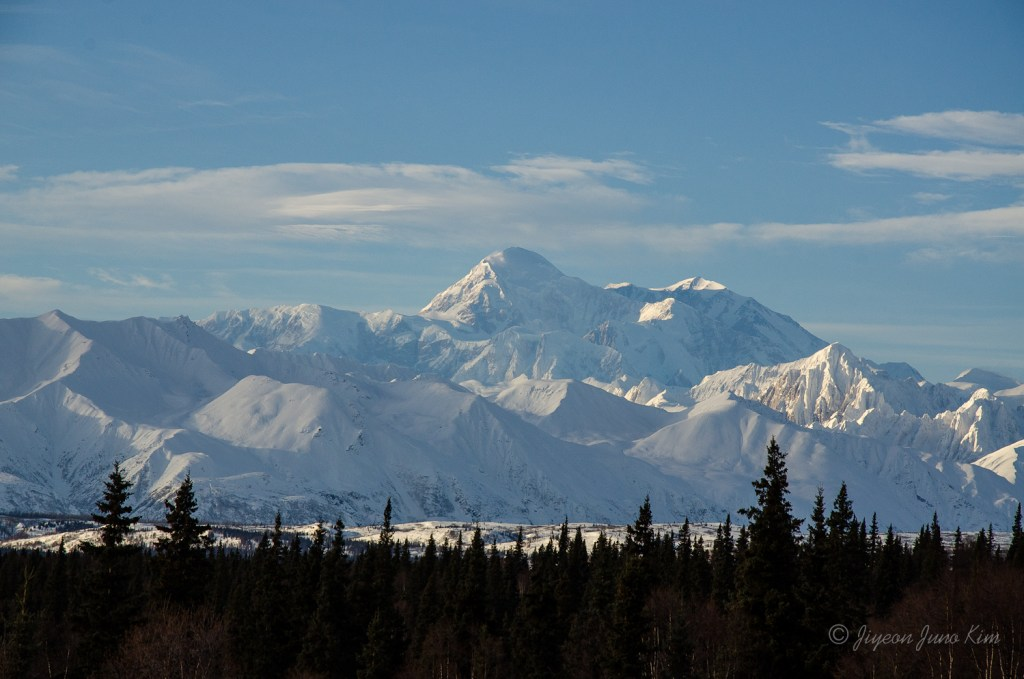 Mt. McKinley, the tallest mountain in the North America, and Alaska Range.