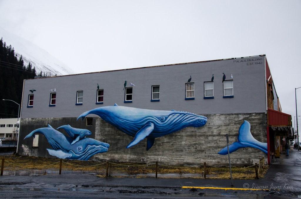 Whale mural at Seward downtown