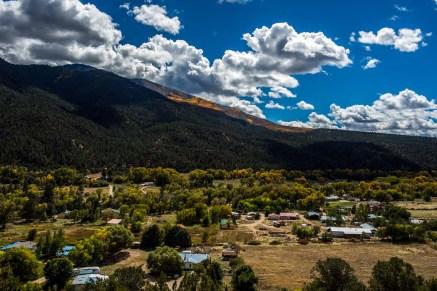 Part of Questa, New Mexico and the Sangre De Cristo Mountains