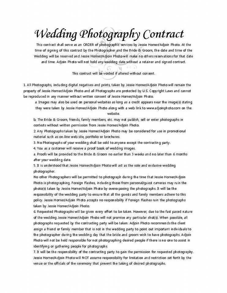 Photography Contract Portrait Photography Contract Photography