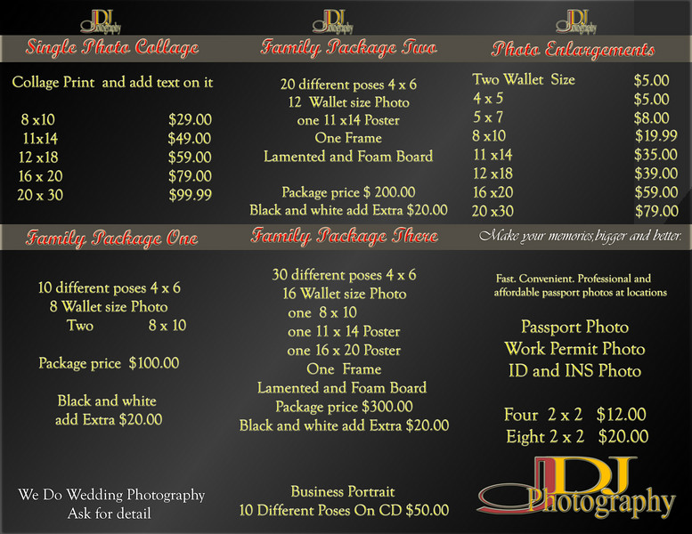 Wedding Package and Studio Price List - djphotograph - wedding price list
